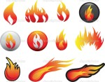 אייקונים בצורת להבה. מקור: http://www.dreamstime.com/royalty-free-stock-images-flame-icon-set-image12773549
