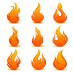 אייקונים בצורת להבה. מקור: http://www.freepik.com/free-vector/flame-icon----vector_591406.htm