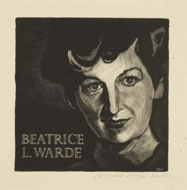 Portrait of Beatrice L. Warde, by Bernard Brussel-Smith. 1950. Wood engraving on Basingwerk Parchment. Signed with initials in block and in pencil on sheet, lower right. Graphic Arts Division